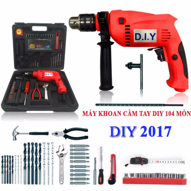 Bộ dụng cụ máy khoan cầm tay gia đình DIY 104 chi tiết cao cấp