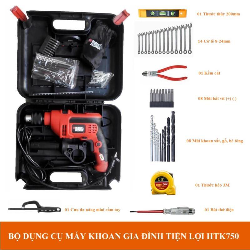Bộ dụng cụ máy khoan gia đình tiện lợi Black&Decker HTK750 (Kèm hộp đựng)