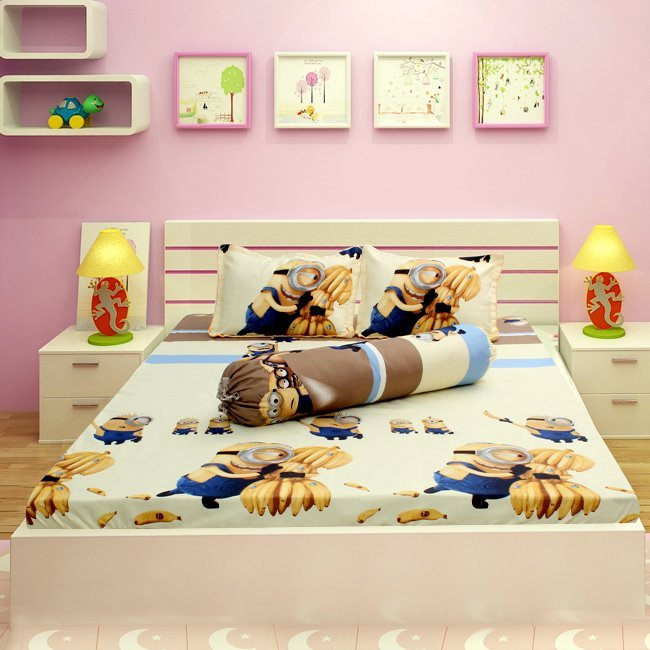 Bộ ga giường minion Sunzin (Nâu kem)