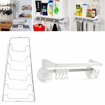 Bộ giá treo vung nồi inox 6 tầng và kệ để đồ đa năng cho nhà bếpphòng tắm SM454