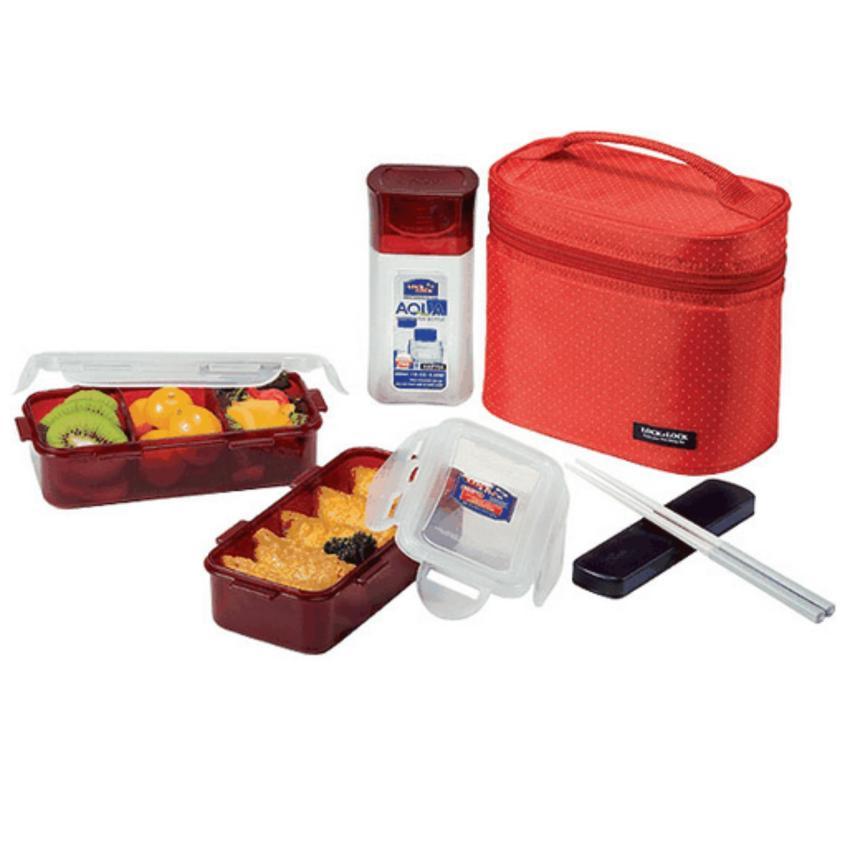 Hình ảnh Bộ hộp cơm trưa tiện lợi với túi xách sang trọng Lock&Lock -HPL758DR