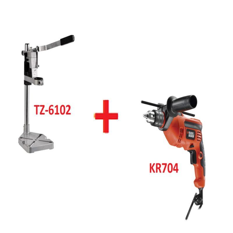 Bộ máy khoan búa 37 chi tiết Black&Decker KR704REKP20-B1 + Chân đế máy khoan bàn dùng cho máy khoan cầm tay TZ-6102