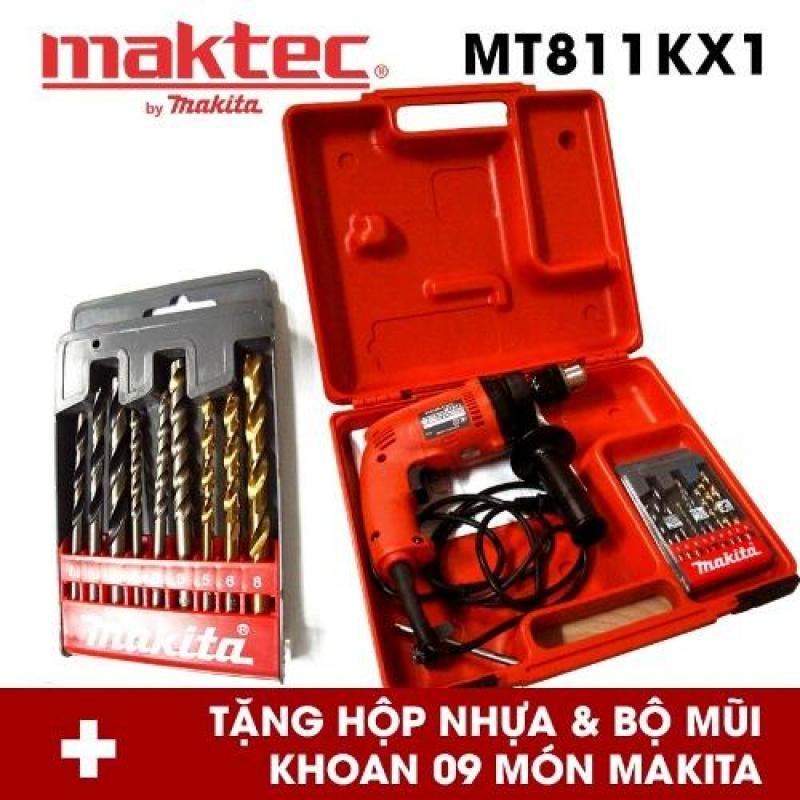 Bộ máy khoan động lực Maktec MT811KX1 (Đỏ) Tặng hộp nhựa và bộ mũi khoan Makita 9 món