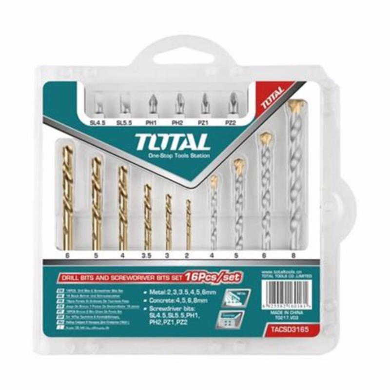 Bộ mũi khoan và đầu vít tiện lợi 16 chi tiết Total TACSD3165