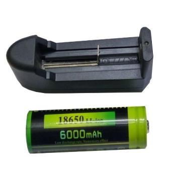Bộ Sạc Pin + Pin Li-Ion Akasha 18650-6000mAh (Đen)