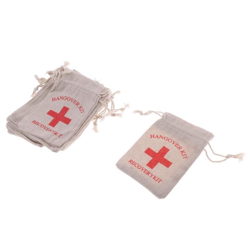 BolehDeals 10pcs Hangover Kit Bags Bachelorette Party First Aid Bags Muslin Favors Bag - intl