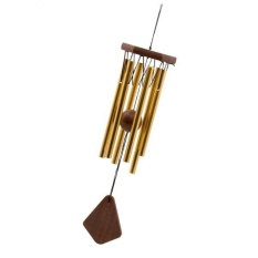BolehDeals Wood Stock Alloy 6-Bell Wind Chime with Wood Pendant Hanging Decor Rose Gold - intl