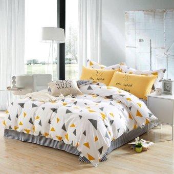 Bright yellow triangle 4pcs bedding set bed linen duvet cover/bedsheet/pillowcase king/twin/Full/queen/Super King size - intl
