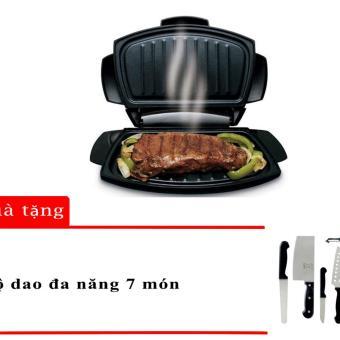 Chảo nướng dùng trong lò vi sóng Micro Grill (Đen) + Tặng 1 bộ dao 7 món (Đen)