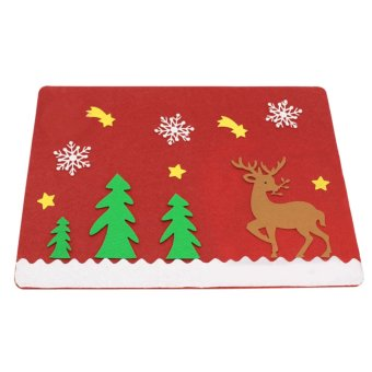 Christmas Deer Placemat Table Runner Mat Cutlery Holder Dinner Decor - intl