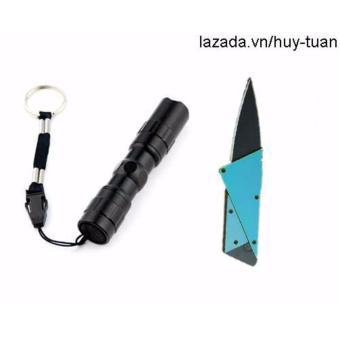 Combo 1 đèn pin siêu sáng mini + 1 dao ATM cán thép ( Xanh dương )
