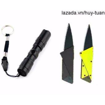Combo 1 đèn pin siêu sáng mini + 2 dao cán thép ATM ( Đen + Vàng )