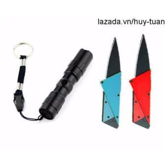 Combo 1 đèn pin siêu sáng mini + 2 dao cán thép ATM ( Đỏ + Xanhdương )