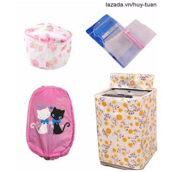 Combo 1 vỏ bọc máy giặt cửa trên cỡ nhỏ ( màu ngẫu nhiên ) + 1 túi giặt vuông + 1 túi giặt tròn + 1 túi lưới bung ( Hồng )