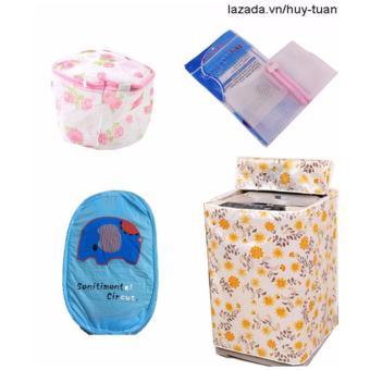 Combo 1 vỏ bọc máy giặt cửa trên cỡ nhỏ ( màu ngẫu nhiên ) + 1 túi giặt vuông + 1 túi giặt tròn + 1 túi lưới bung ( Xanh lá )