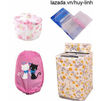 Combo 1 vỏ bọc máy giặt (màu ngẫu nhiên) + 1 túi giặt vuông + 1 túi giặt tròn + 1 túi lưới bung ( Hồng )