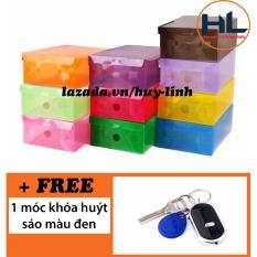 Combo 10 hộp đừng giày trong suốt màu sắc cá tính tặng 1 móc khóa huýt sáo (Đen)