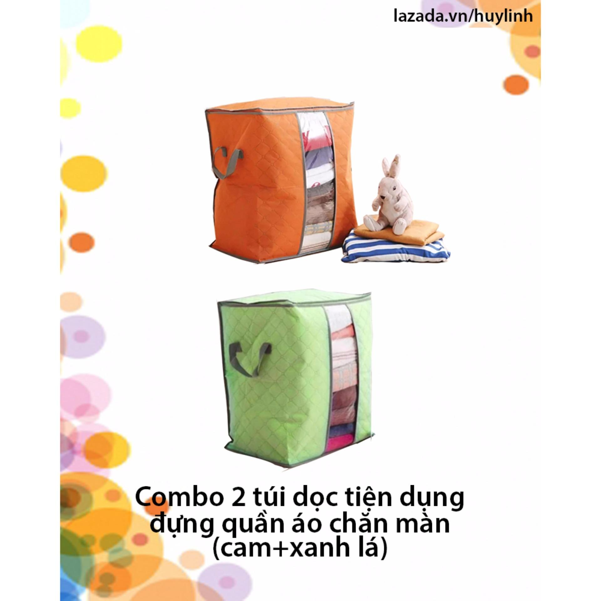 combo 2 túi dọc tiện dụng đựng quần áo chăn màn (cam +xanh lá)