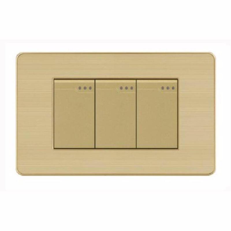 Bảng giá Công tắc ba 1 chiều mặt hình chữ nhật cao cấp KLASS 118KV5-008 (gold - vân hoa)