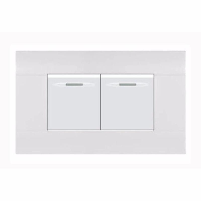 Bảng giá Công tắc đôi 1 chiều hạt trung mặt giắc hình chữ nhật cao cấp KLASS series 118KA3-006 (màu trắng)