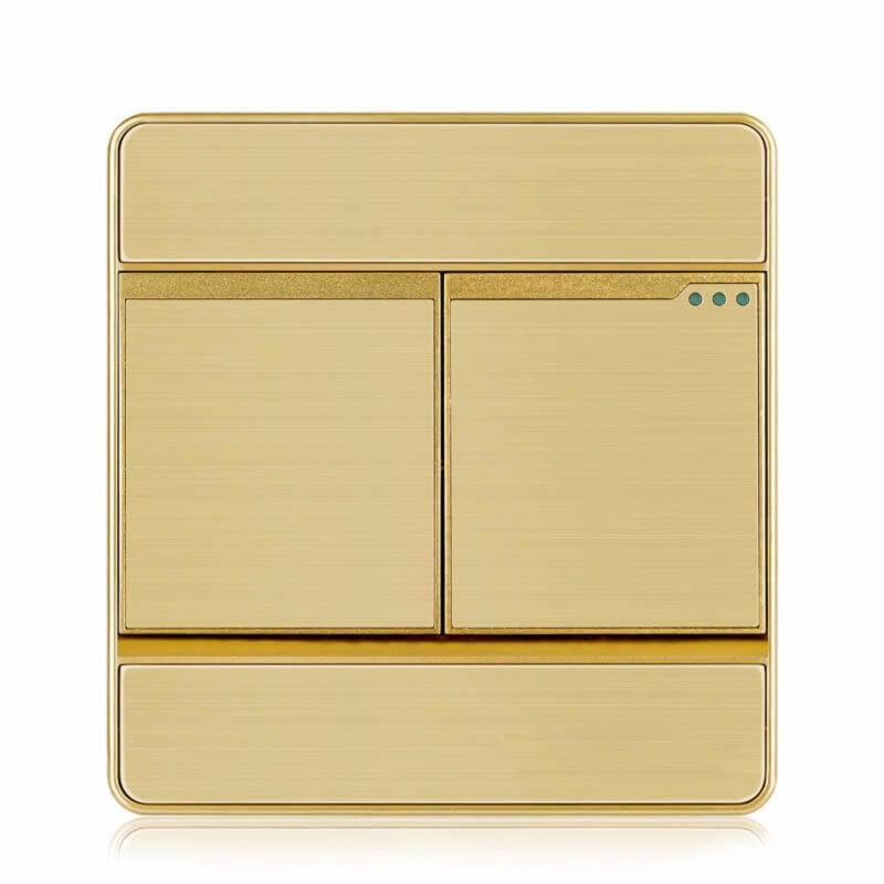 Bảng giá Mua Công tắc đôi 2 chiều hạt trung mặt giắc vuông cao cấp KLASS 86KB8-004 (màu đồng)