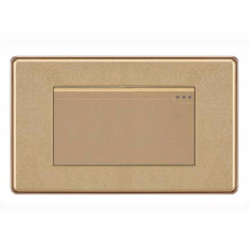 Bảng giá Công tắc đơn 2 chiều mặt hình chữ nhật cao cấp KLASS 118KV5-003 (gold vân hoa)
