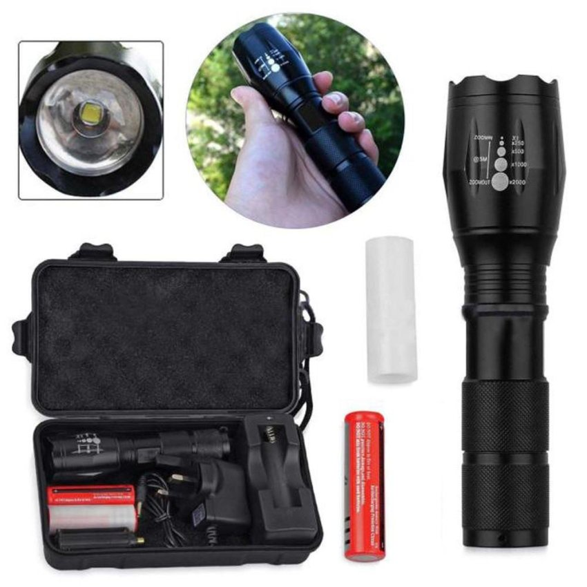 CREE T6 2000lm LED Zoomable Torch Flashlight 2 x 18650 + Charger +Case - intl
