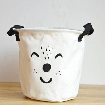 Cute Animals Pattern Cotton Linen Storage Bucket Toys Sundry Storage Basket with Handles - intl