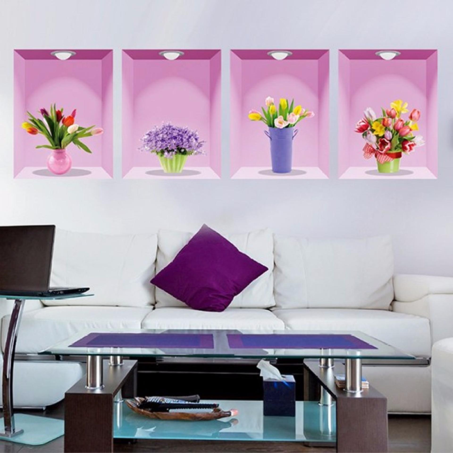 Decal dán tường 4 chậu hoa 3D