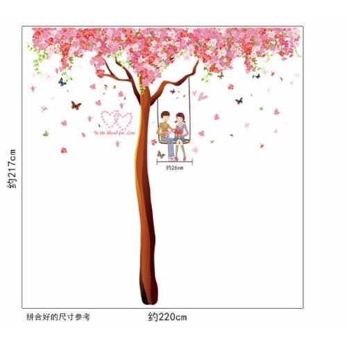 Decal dán tường cây đào tình yêu BINBIN PK303(Hồng)