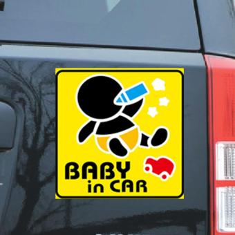 Decal dán xe oto phản quang Baby in car - Bé con bú sữa