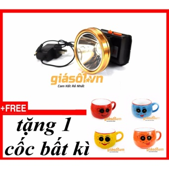 Đèn pin đeo trán,đội đầu bóng LED siêu sáng chống nước + tặng 1 cốcmặt cười
