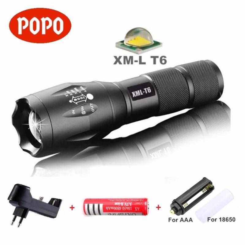 Bảng giá Đèn pin LED siêu sáng cầm tay 5 chế độ XML-T6/L2, chống nước cao cấp POPO + Tặng hộp đựng + 1 Pin sạc 18650 + FREE Bộ sạc Pin
