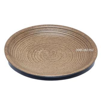 Đĩa tròn số 2 gốm Bát Tràng, đường kính 23.5cm, cao 3.5cm(Đen)