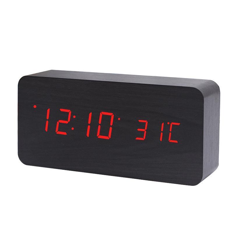 Nơi bán Electronic Digital Wooden LED Alarm Clock Sounds Control Temperature Desktop Cuboid