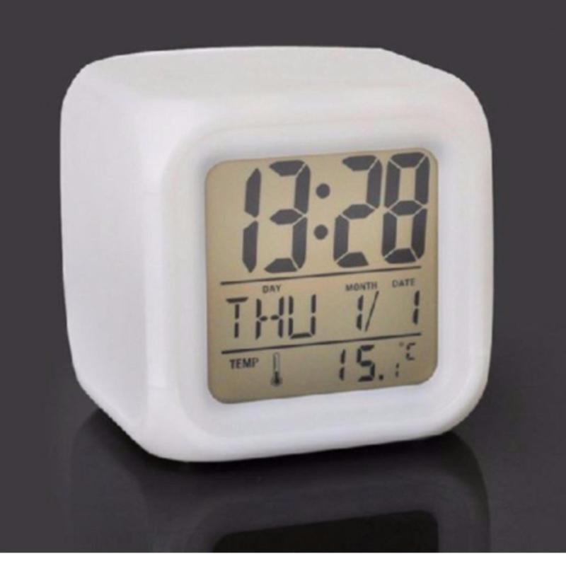 Nơi bán Đồng hồ báo thức để bàn - LED đổi màu cực đẹp - Nhiệt kế