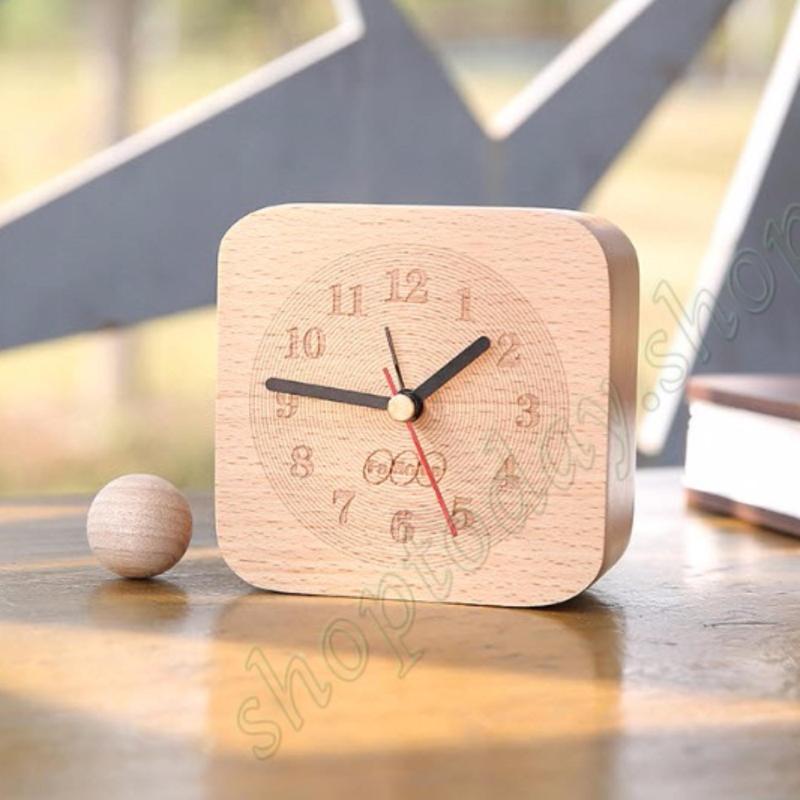 đồng hồ báo thức gỗ sồi tự nhiên liền khối ,đồng hồ trang trí nội thất nhà cửa bán chạy