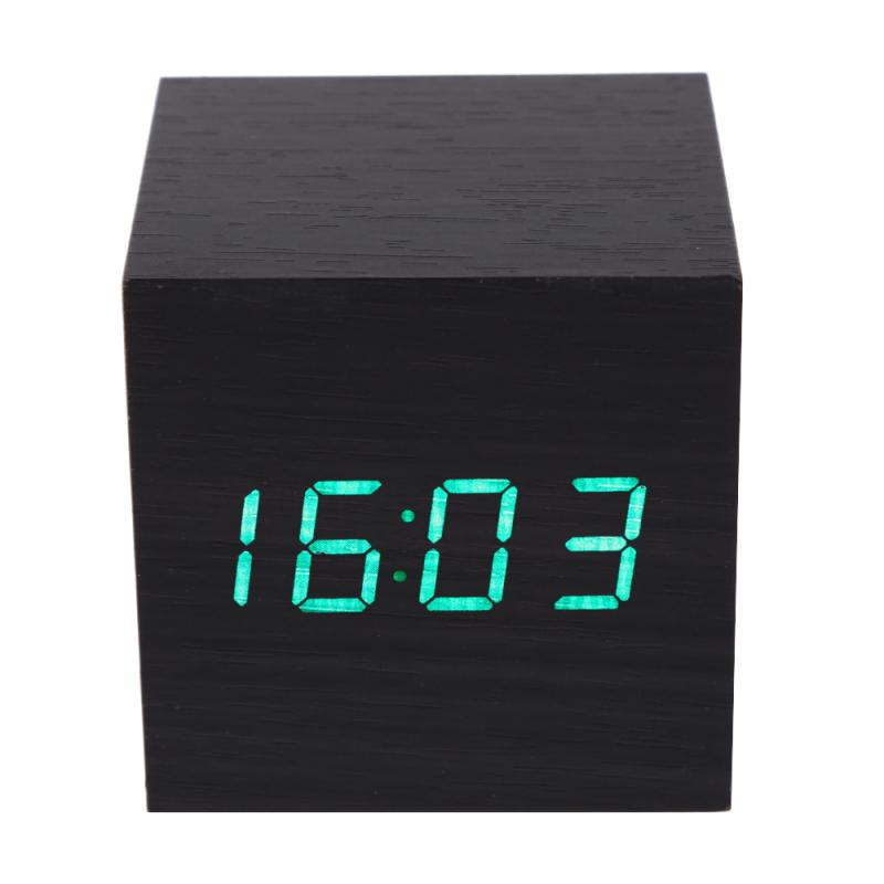 Đồng hồ báo thức kỹ thuật số bằng gỗ hiện đại màu đen để bàn có chức năng nhiệt kế - INTL bán chạy
