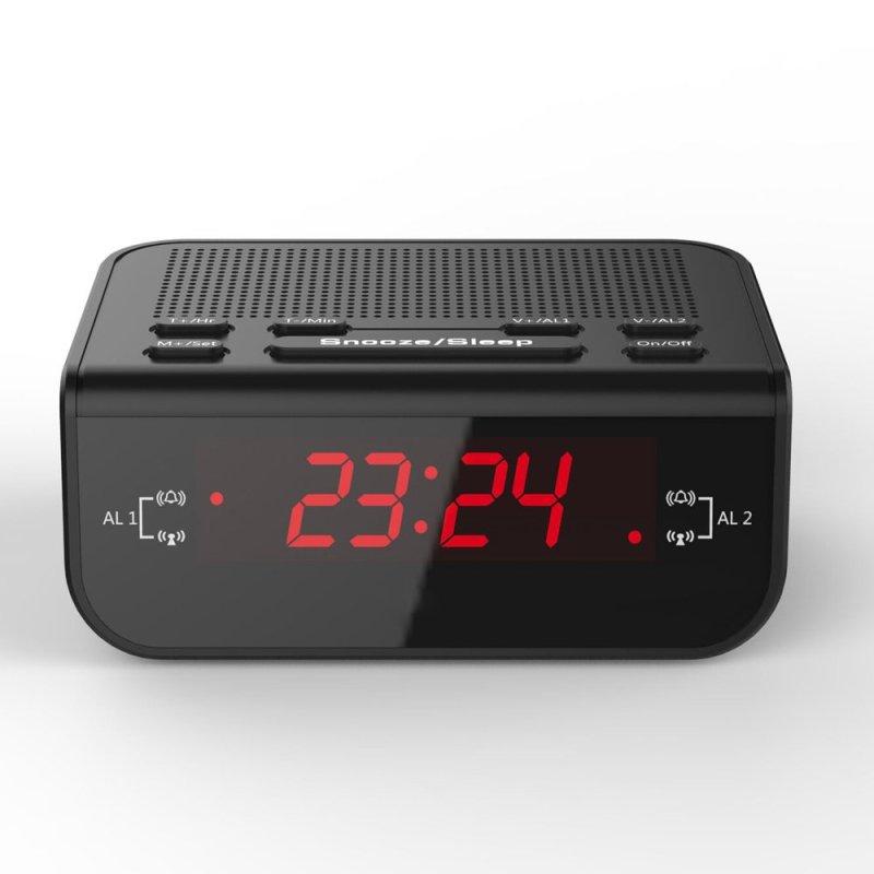 Đồng hồ Báo thức kỹ thuật số tích hợp đài FM Radio Chức năng đánh thức hiển thị thời gian đèn LED màu Đỏ bán chạy