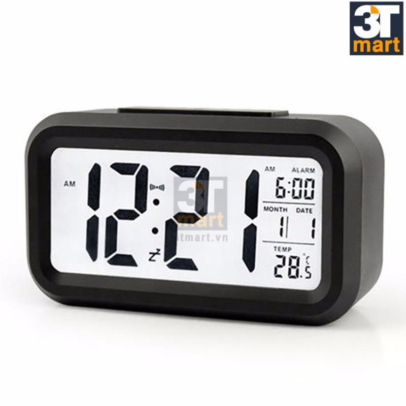 Nơi bán Đồng hồ báo thức kỹ thuật số với đèn LED nền cảm biến đa chức năng: thời gian, lịch, báo thức, nhiệt độ - LC01 (Đen)