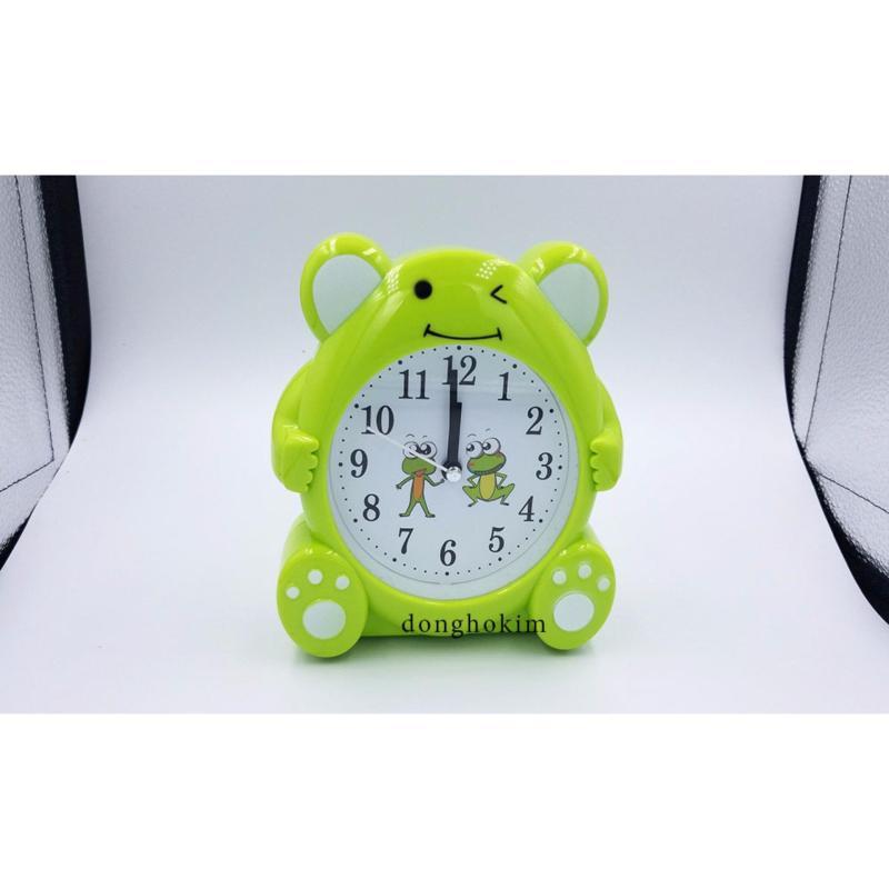 Đồng hồ báo thức mặt ếch dễ thương, đồng hồ báo thức chất lượng màu xanh lá bán chạy