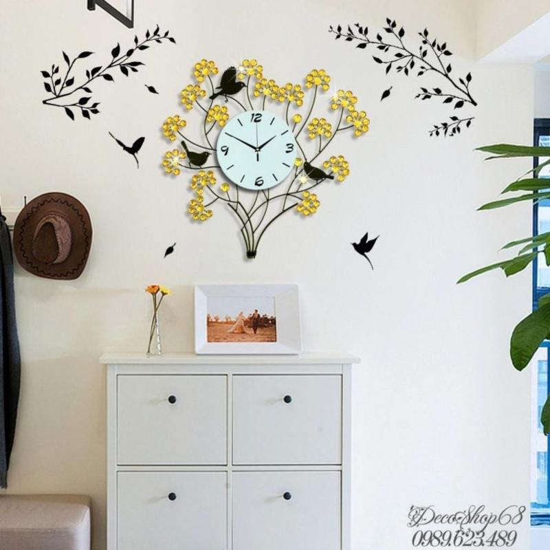 Nơi bán Đồng hồ trang trí treo tường Decoshop68-W0260Y (hình cây và chim)