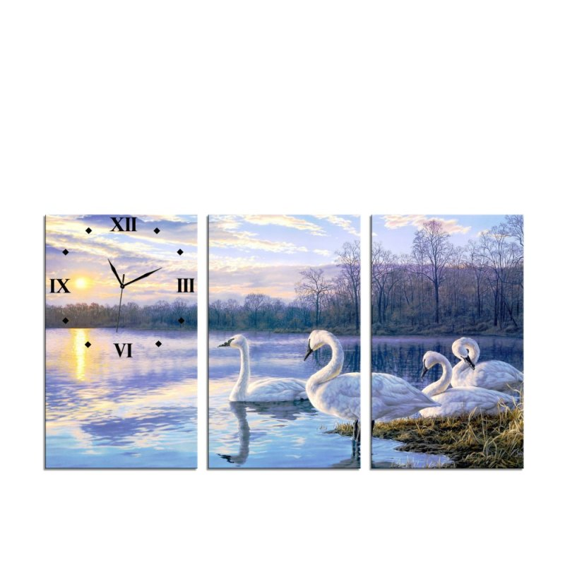 Nơi bán Đồng hồ tranh Đàn thiên nga Vicdecor DHT0066 (40cm x 30cm x 0,9cm x 3 tấm)