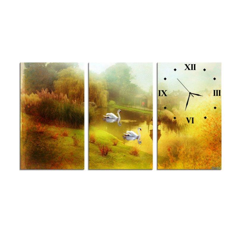 Nơi bán Đồng hồ tranh Hồ thiên nga Vicdecor DHT0067 (40cm x 30cm x 0,9cm x 3 tấm)