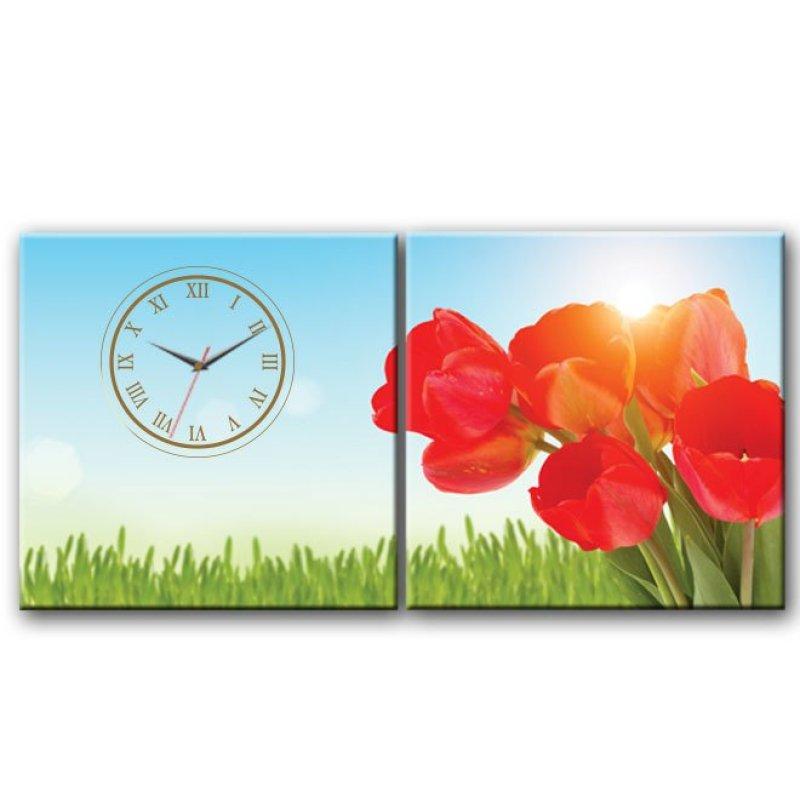 Nơi bán Đồng hồ tranh Hoa Tulip Đỏ Dyvina 2T3030-2
