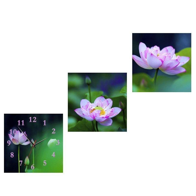 Nơi bán Đồng hồ tranh Sen tím Vicdecor DHT0207