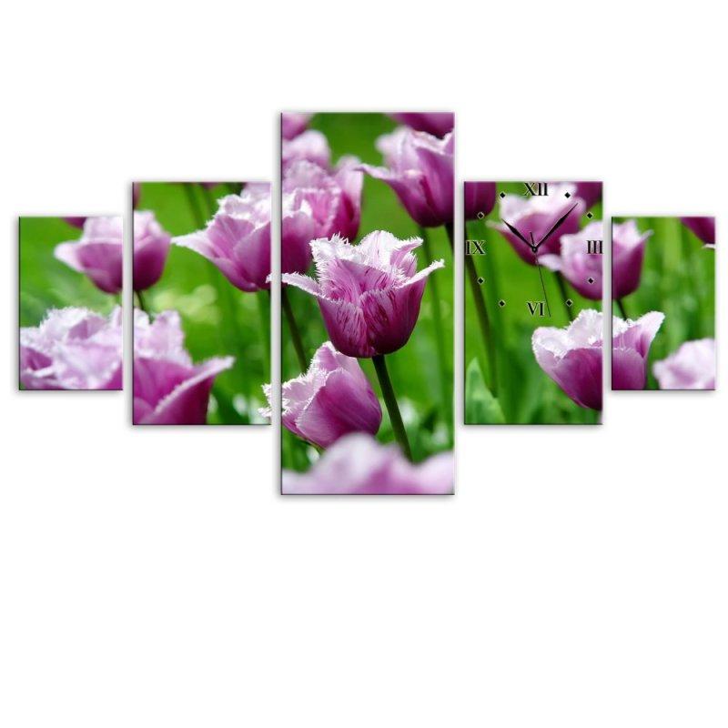 Nơi bán Đồng hồ tranh Tulip tím mộng mơ Vicdecor QDB0021