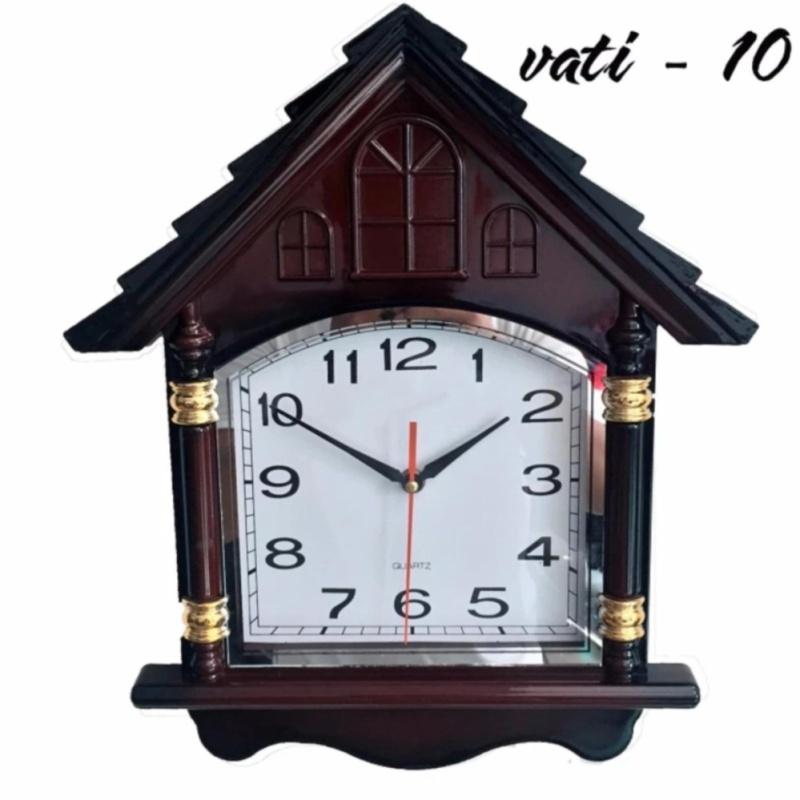 Nơi bán Đồng hồ treo tường hình ngôi nhà vati f10 (nâu)-Món quà tân gia tuyệt vời