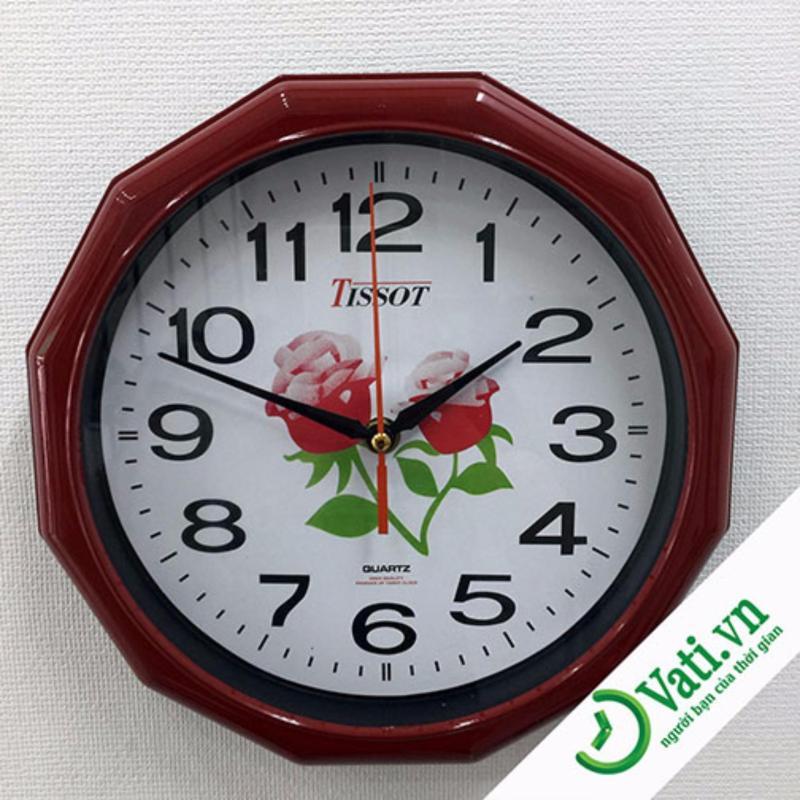 Nơi bán Đồng hồ treo tường hình tròn Vati S2 (nâu)-Giá rẻ nhất thị trường