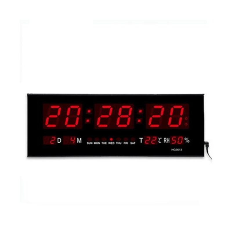 Nơi bán Đồng hồ treo tường loại lớn màn hình kỹ thuật số có đèn LED, chức năng ngày giờ báo thức (Màu đen) - intl